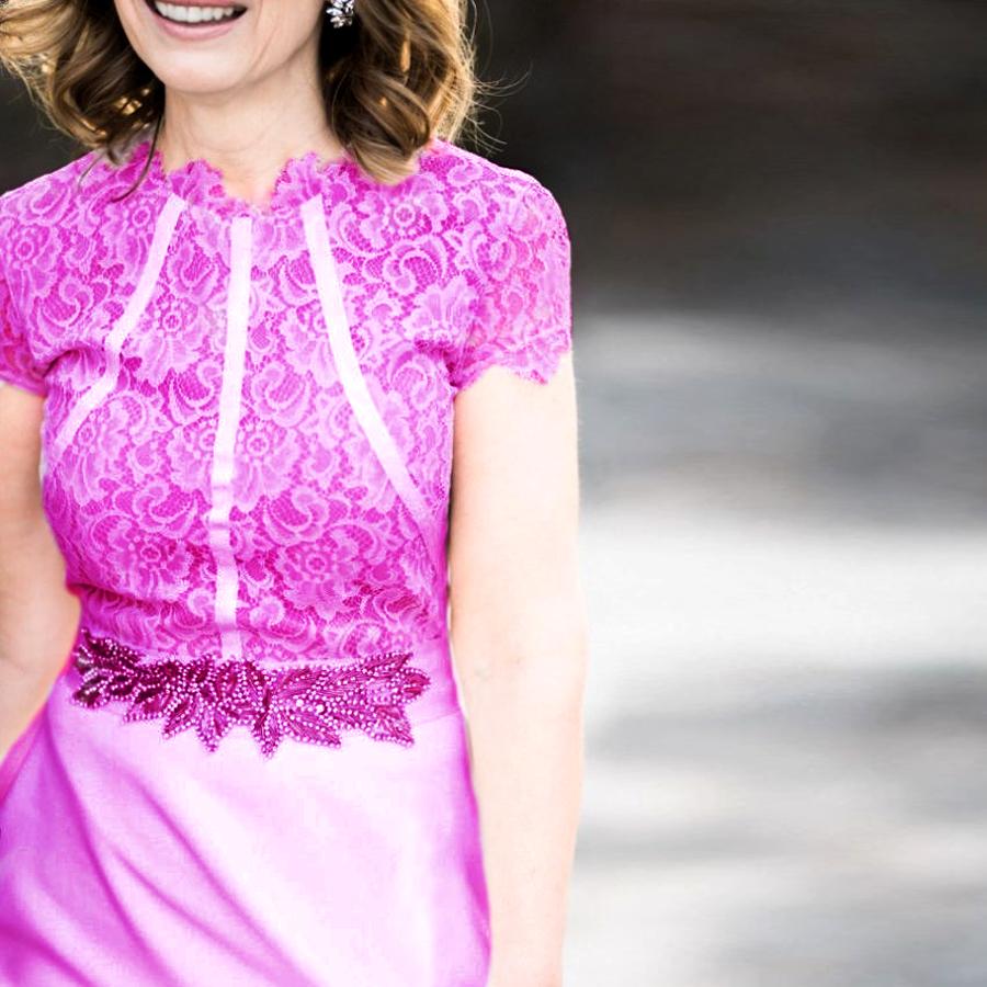 Bridal Style For Older Brides - Hot Pink Wedding Dress